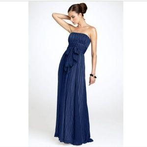 BCBGMaxazria -Blue Strapless Full Length Silk Gown